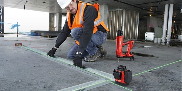 The PM 30-MG is perfectly designed for laying out drywall tracks