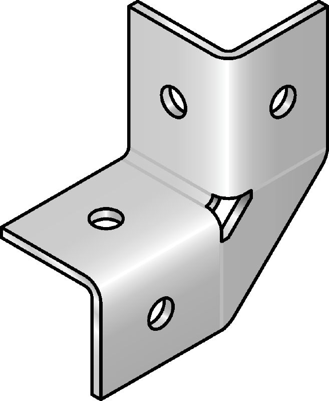 MRW 90°-HDG Hot-dip galvanized (HDG) angle bracket for connecting MR strut channels or brackets