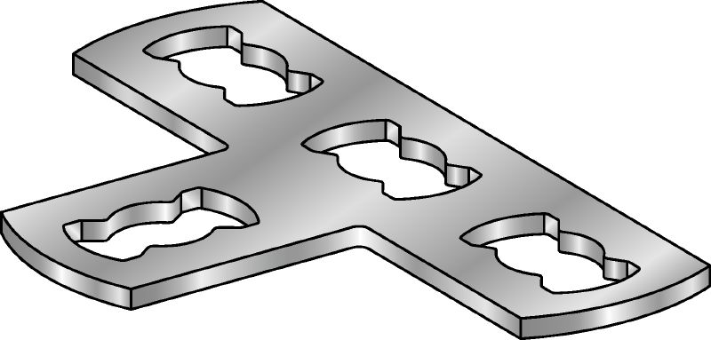MQV-T-F Hot-dip galvanized (HDG) flat plate connector used for joining channels at right angles