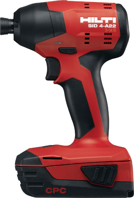 SID 4-A22 Cordless impact driver Compact-class 22V cordless impact driver with 1/4 hexagonal click-in chuck for medium-duty work
