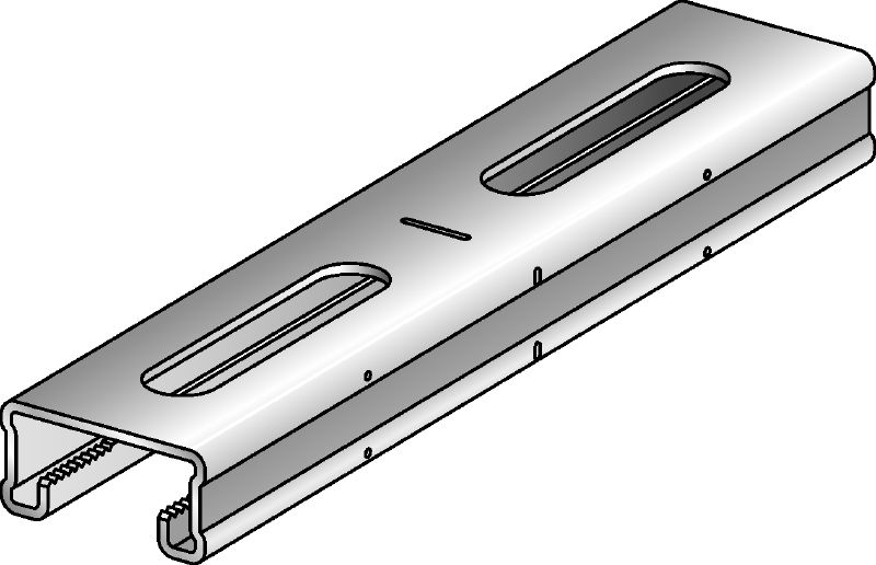 MQ-21-R Stainless steel (A4) 21 mm high MQ strut channel for light-duty applications