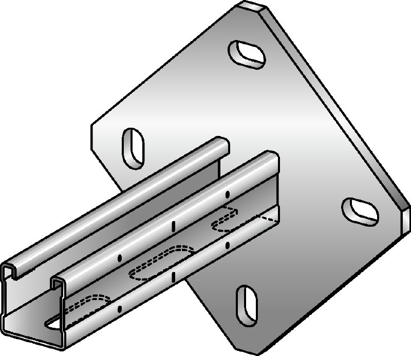 MQK-41/4 Galvanized bracket with a 41 mm high, single MQ strut channel with a square baseplate for higher rigidity