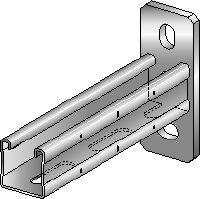 MQK-41-F Hot-dip galvanized (HDG) bracket with a 41 mm high, single MQ strut channel for medium-duty applications
