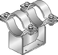 MI-PS 2/2 Hot-dip galvanised (HDG) double pipe shoes for fastening DN 200-600 pipes to MI girders in heavy-duty applications