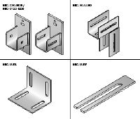 MIC Hot-dip galvanized (HDG) connectors for flexible installation of horizontal divider beams in elevator shafts