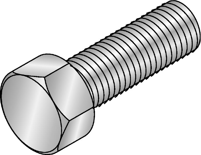 HDG hexagon screw DIN 933 Hot-dip galvanized (HDG) hexagon screw corresponding to DIN 933